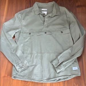Army green denim Zara three button pullover
